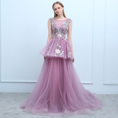 New Prom Dress The Banquet Elegant Purple Lace Embroidery with Beadning Sweep Train