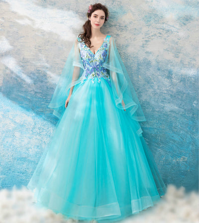New Romantic Frech Lace Prom Dress Banquet Sweet V-neck Lace Embroidery Floor-Length