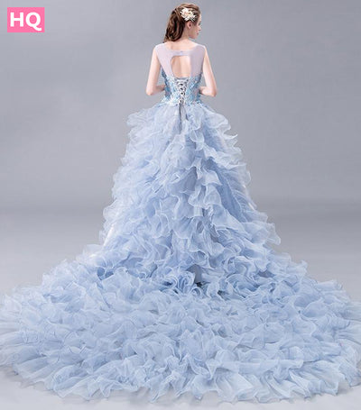 New High-end Prom Dress The Banquet Luxury Grey Satin with Light Blue Lace Appliques