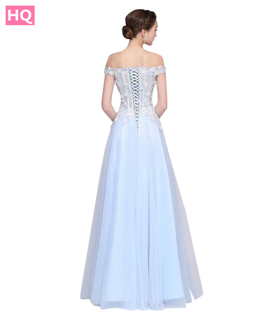 New High-end Light Blue Prom Dress Banquet Elegant Boat Neck Floor-Length Lace Appliques Beading