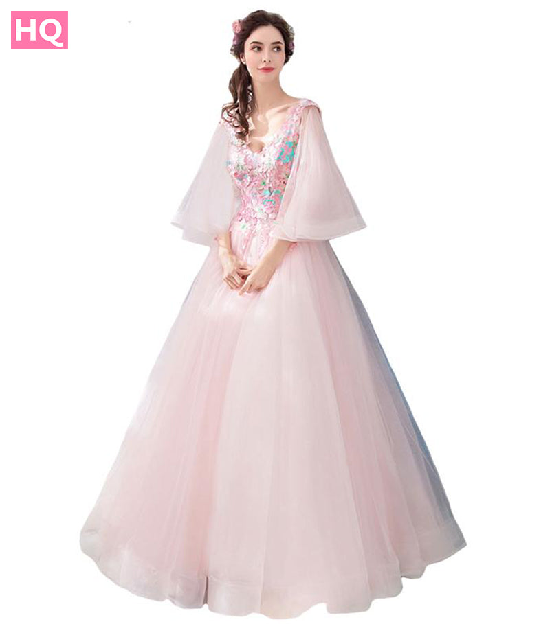 New Sweet Pink Lace Prom Dress The Banquet Elegant Appliques Butterfly  Sleeves c2a6e47f7f80