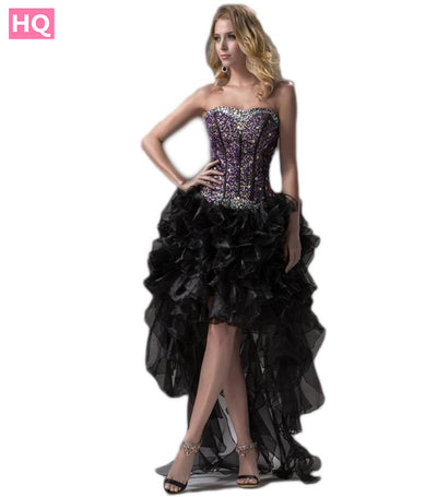 Sequins Organza Ruffles Cocktail Prom Gown - Beaded Crystals