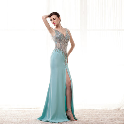 Sexy Backless Prom Dresses Long 2017 Robe De Soiree Longue Beading Satin Mermaid Imported Party Dress Formal Slit Evening Gowns