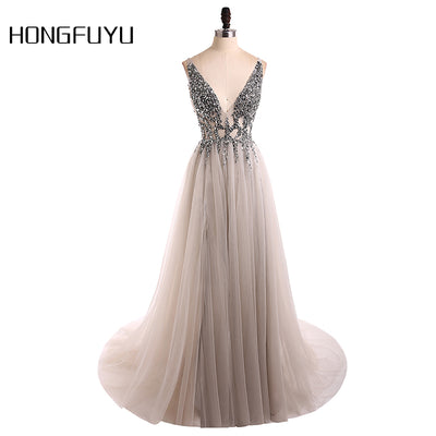 Sexy Evening Dress 2018 V-Neck Beads Open Back A Line Long Evening Dresses Party Vestido De Festa High Split Tulle Prom Gowns 1 2