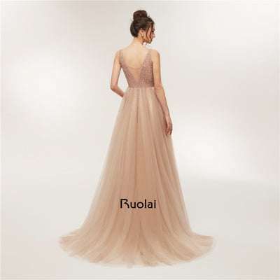 Sexy Prom Dress 2018 Low Neck A-Line Beaded Evening Dresses Long with Slit Luxury Prom Party Gown Robe de Soiree RE12 1
