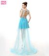 Sexy Applique Tulle Cap Sleeve Formal Party Gown
