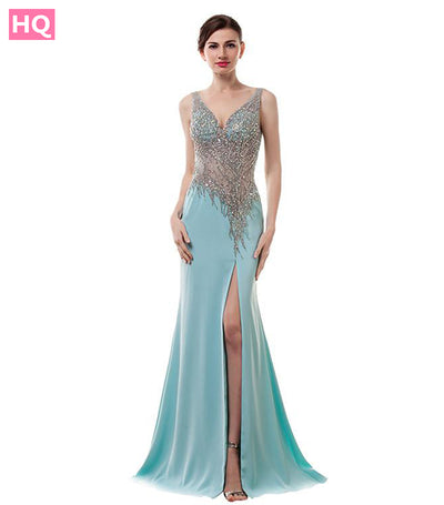 Sexy Backless Prom Dresses Long 2017 Beading Satin Mermaid Imported Party Dress