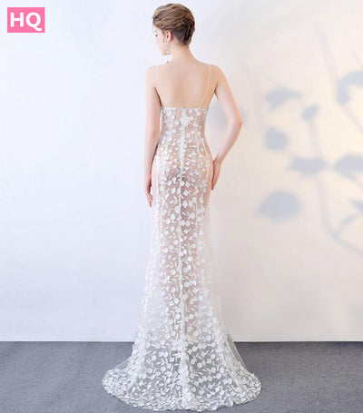 Sexy Ivory Lace Mermaid Prom Dresses 2018 Prom Dress Long Transparent Sweetheart Zipper Appliques