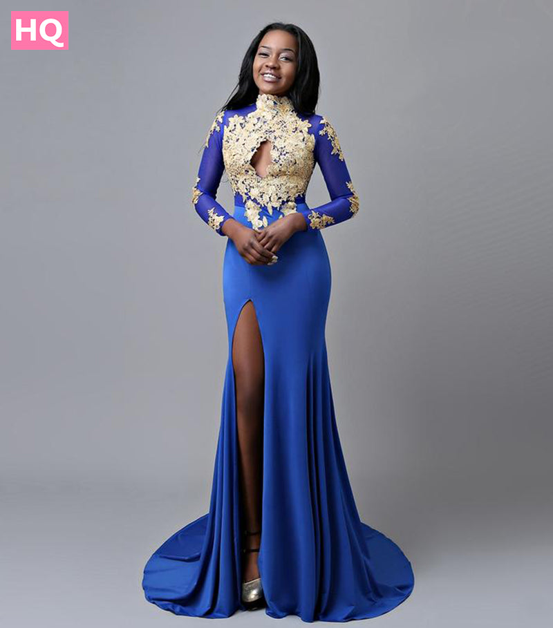 Sexy Long Sleeve Prom Dresses High Neck Gold Lace High Slit Back
