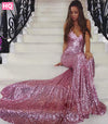 Sexy Pink Sequined Mermaid Prom Dresses Cheap Long Evening Party Dress Formal Special Occasion Backless