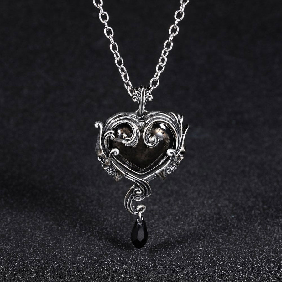 Skull Red red peach heart crystal necklace pendant accessories Men Women Jewelry