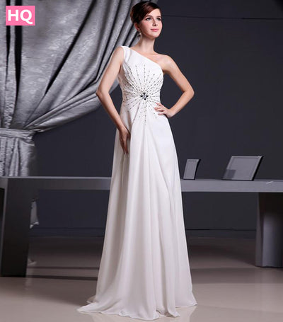 Stunning One Shoulder Long Chiffon White Prom Dresses 2017 Beaded Custom Made Summer Special
