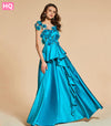 Tanpell flowers prom dresses lake green sleeveless floor length a line dress women beading back button formal customed prom gown