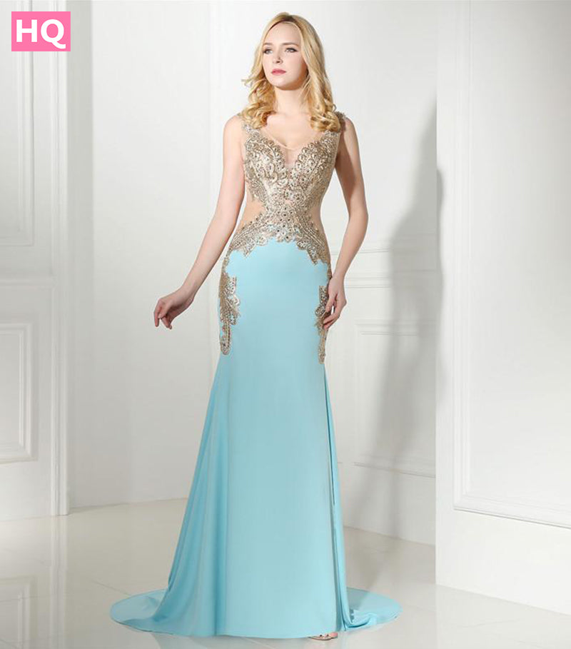 2e8954c0162 Turquoise 2018 Prom Dresses Mermaid See Through Appliques Beaded Elegant  Long Women Prom