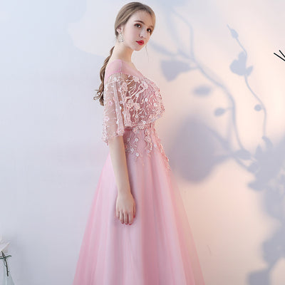 Sweet Pink See Through Beading Flower Appliques Lace A-line Prom Dresses Custom Made Backless