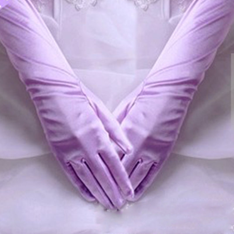 Women Chic Long Gloves Stretch Halloween Satin Gloves Evening Party Prom Gloves 2018