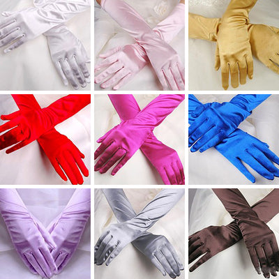Women Chic Long Gloves Stretch Halloween Satin Gloves Evening Party Prom Gloves