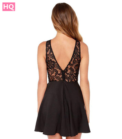 Women Summer Casual Backless Prom  Cocktail Lace Short Mini Dress
