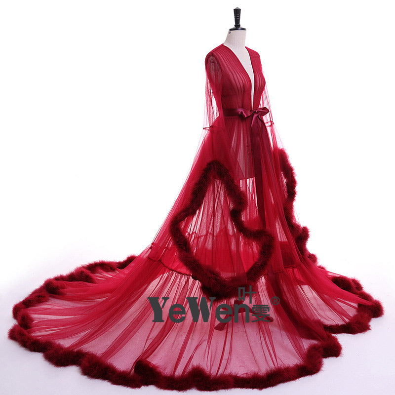 YeWen Vestido de festa Robe De Soiree V Neck Feather Long Sleeve Tulle Party Evening Dresses 2018 Burgundy pink prom dresses 1