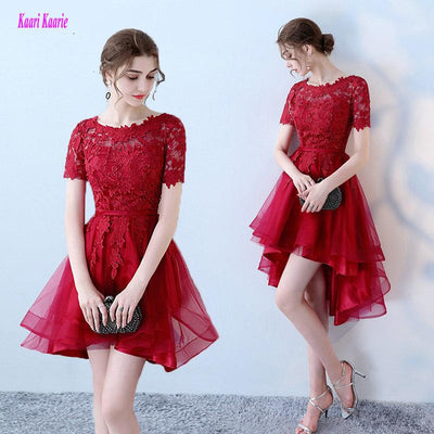 Burgundy Short Prom Dresses 2018 New Sexy O-Neck Lace Beach Knee-Length