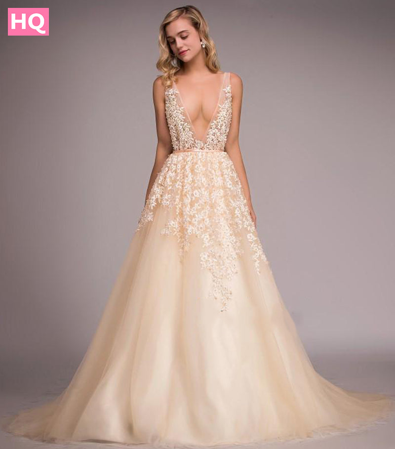 9426d46f12d Backless Sexy Prom Dresses Pearls Champagne Tulle Deep V Neck Long Lace  Evening Dress