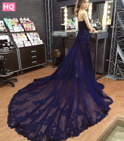Mermaid Prom Dresses 2018 New Off Shoulder Beaded Appliques Tulle