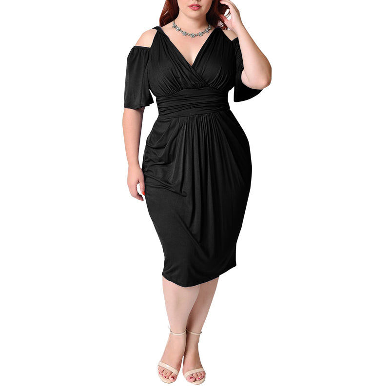 plus size dresses for women 4xl 5xl 6xl	 Womens Prom Gown Cold Shoulder Woman Sheath Dress Black Red Big size Summer Beach Tunic