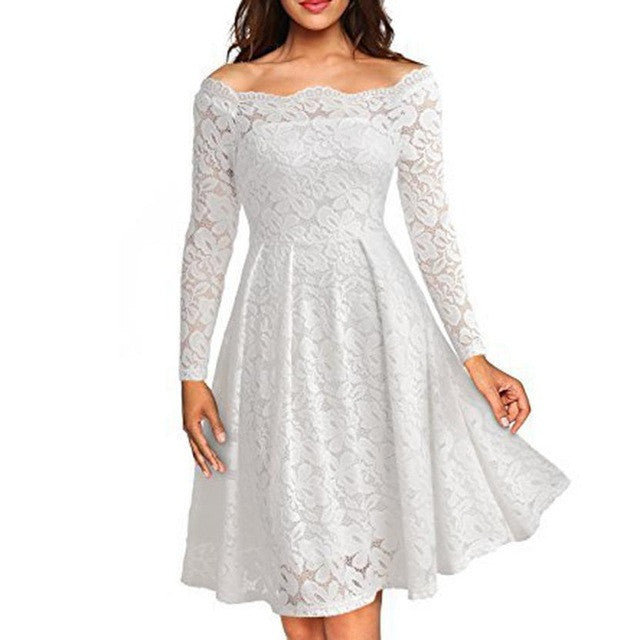 Fashion Women Dress Floral White Lace Dresses Elegant Lady Long Sleeve Boat Neck Cocktail Formal Swing Plus Size Mini Dress#LSN