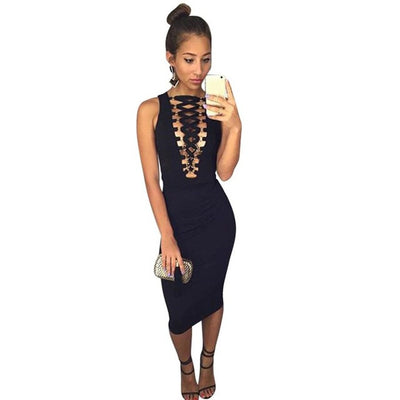 Fashion Women Dress Sleeveless Sexy Black Bandage Hollow Out Evening Party Dress Short Knee-Length Dress