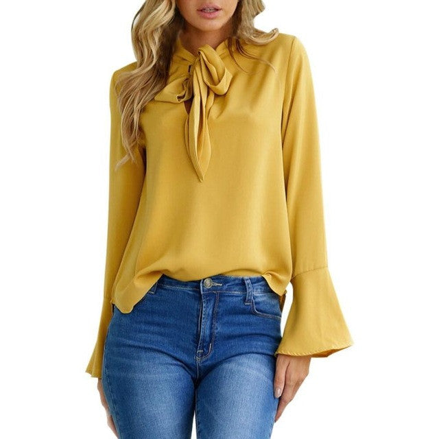 Elegant Ruffles Shirt - Long Flare Sleeve Blouse