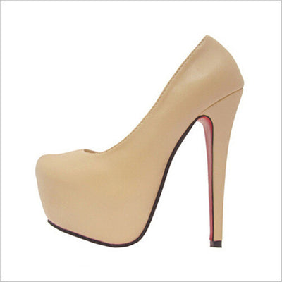Merkmak Stylish Sexy High Heels Brand 14cm Heel Bottom For Women Shoes Wedding Party PU leather Sapatos Femininos Platform Shoes