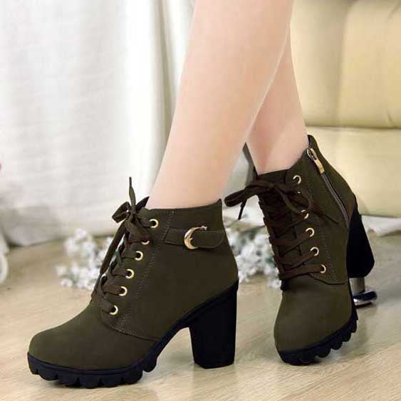 Merkmak Brand Heels Women Boots Soft Leather Platform Comfprtable Single Shoes Vintage Women Motorcycle Boots Martin Boots Size