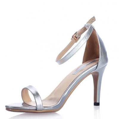 New 2017 Summer Vogue Gold Silver Women Classic Dancing High Heel Sandals Party Wedding Shoes for Ladies Office Work Thin Heels