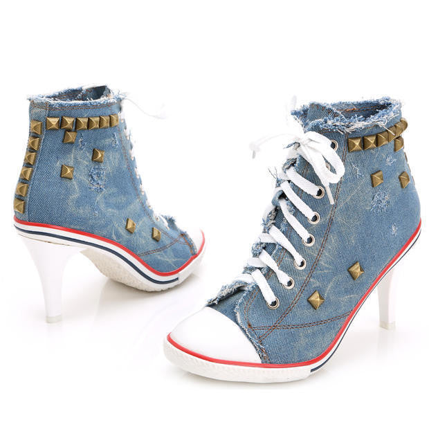 Hot 2015 New Arrival Spring And Autumn Canvas High Heels Rivet High Heel Canvas Shoes Women Denim Canvas Free Shipping WS132