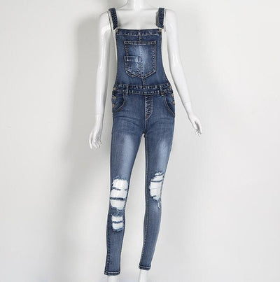 2017 Summer Hole Jeans Denim Jumpsuit Overalls rompers women one piece jumpsuits sexy bodysuit salopette femme long pencil