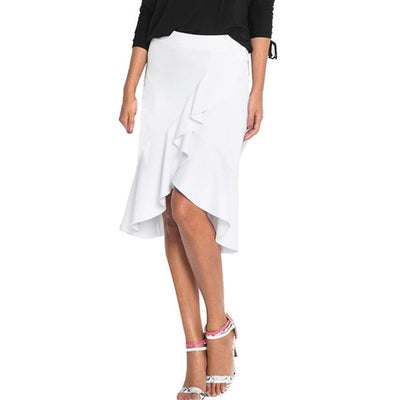 FEITONG Empire Trumpet Mermaid Women Ladies Irregular Lotus Leaf Skirt Casual Knee Length Office Work saia midi White Skirts