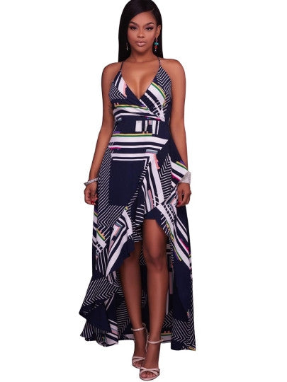 Asym Plaid Strappy Women's Maxi Dress