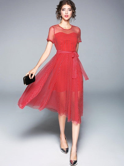 Red Striped Lace up Women's Day Dress