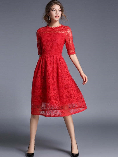 Red Half Sleeve Women's Lace Dress