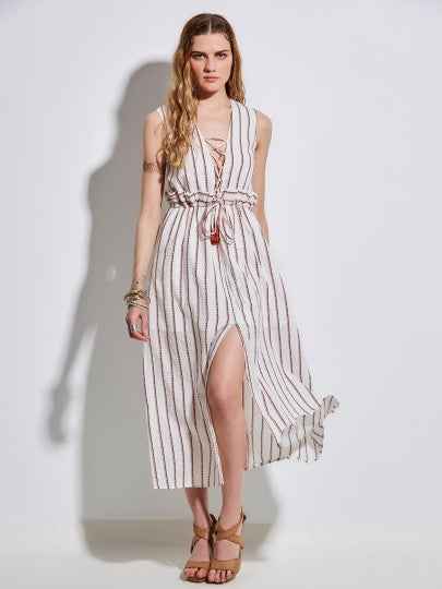 Lace up Striped Sleeveless Women's Maxi Dress