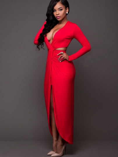 Red Double-Layered Women's Maxi Dress