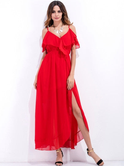 Red Strappy Split Women's Maxi Dress