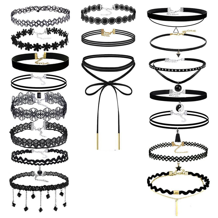 18Pieces Choker Necklace Set Stretch Velvet Classic Gothic Tattoo Lace Choker