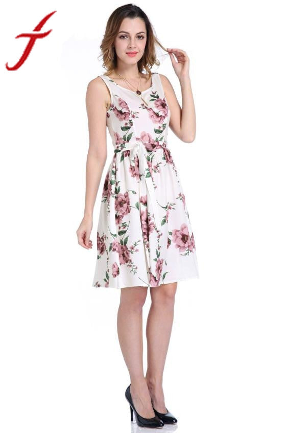 Fashion Women Floral Printed Dress Elegant Sleeveless Evening Party Prom Gown Formal O-Neck Knee-Length Dress vestidos