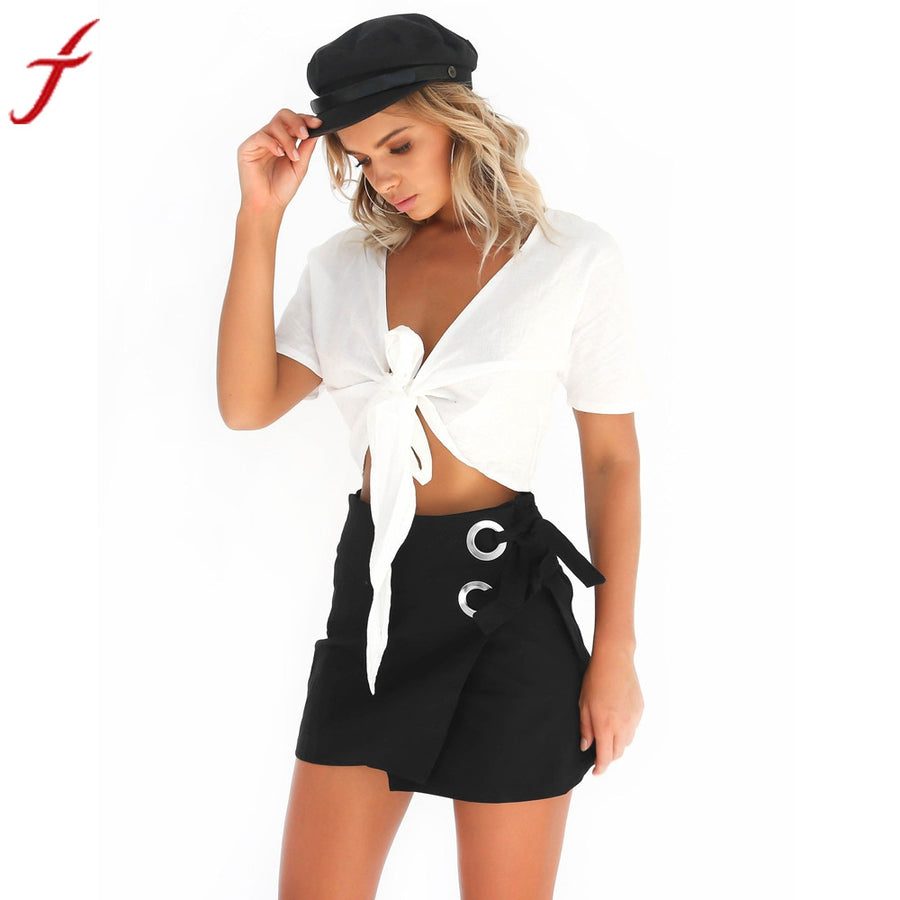 Women Sexy Skirt High Waist Skinny Lace-Up Bandage Short Skirt Party Cocktail Club Asymmetrical Pencil Skirts