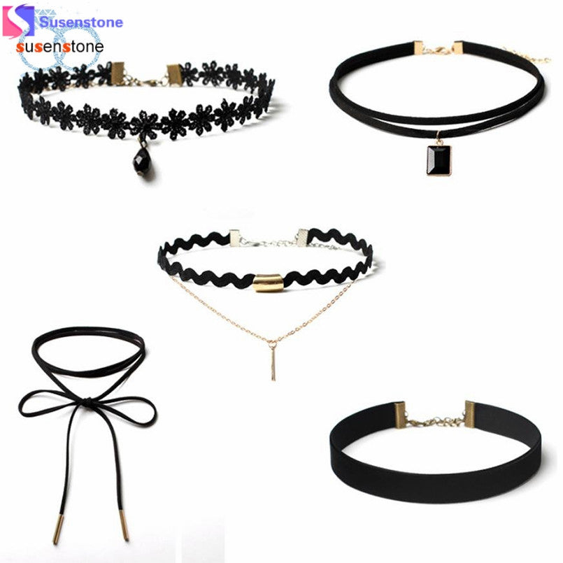 SUSENSTONE 5 Pieces Choker Necklace Set Stretch Velvet Classic Gothic Tattoo Lace Choker