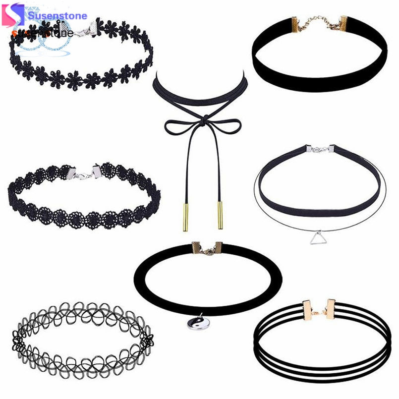 SUSENSTONE 8 Pieces Choker Necklace Set Stretch Velvet Classic Gothic Tattoo Lace Choker
