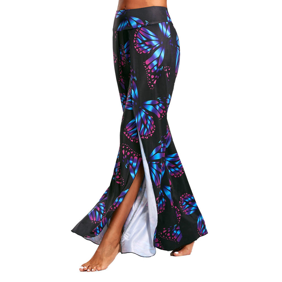Womens Butterfly Print High Split Flowy Wide Leg Pants Yoga Trousers Quick Dry Breathable Dance Pant wholesales #EW