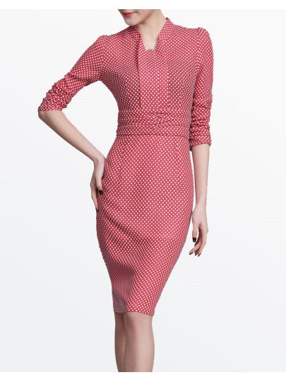 Red Half Sleeve Polka Dots Women's Sheath Dress
