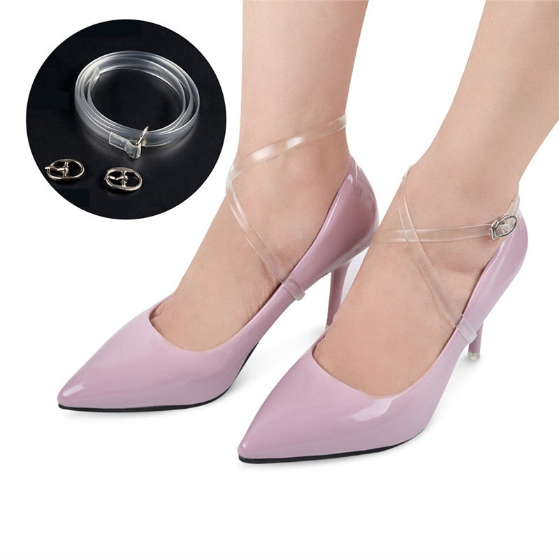 1 Pair of Women's Transparent Shoe Straps with Silver Buckle High Heels Anti-loose Shoelace Accessories